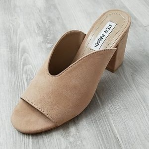 Steve Madden suede leather mules NWT